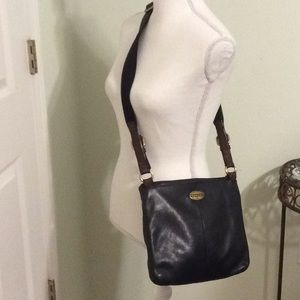 ❤️FOSSIL black cow hide leather crossbody bag